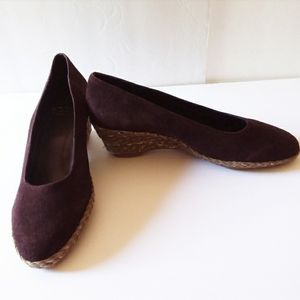 4/$20 🌸 NWOT Brown Suede Leather Wedge Shoes